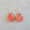 Decoupage wood earrings on silver hooks with red pattern