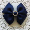 Simple Bow Hair Clip - Navy