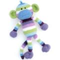 'Murphy' the Crochet Monkey - blue, green, white, purple - *READY TO POST*