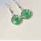 Emerald green flower millefiori drop earrings