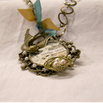 COLLAGE ASSEMBLAGE NECKLACE, Bird Nest, Recycled, Altered Jewelley