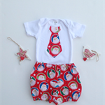 Gorgeous Santa Christmas Outfit - Shorties Bloomers + Santa Tie Onesie