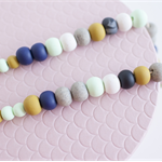 THE HUNTER - Polymer Clay Necklace in Navy, Mustard, Mint, White + Grey Granite