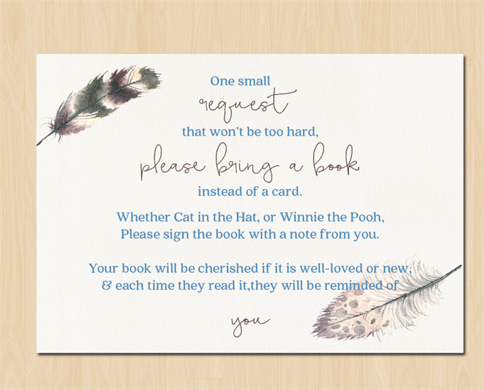bohemian baby shower bring a book poem water colour feather design
