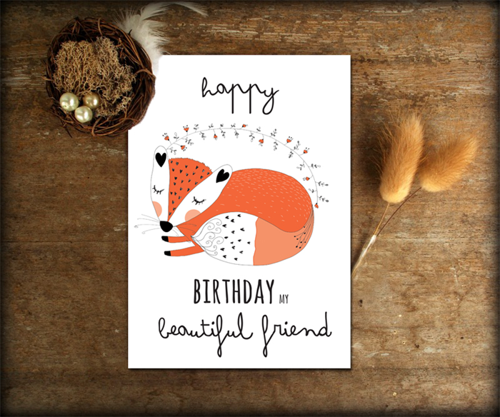 Best Friend Birthday Card Bestie With Sweet Fox Illustration