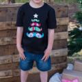 Mustache Christmas Tree Applique Tee Size 0-6 Boys Christmas T-shirt