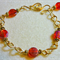 Red Beaded Bracelet wit Goldplate Wirework Links