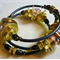 Amber Memory Wire Steampunk Style with Lampwork Beads Bangle