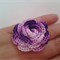Varigated Purples Cotton Crochet Flower Ring on Adjustable Silver Metal Band