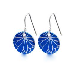 Royal Blue Printed Disc Drop ~Earrings