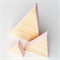 Mountain block set of 3 - Wood Triangle blocks with Pink edges.