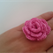 Pink Cotton Crochet Flower Ring on Adjustable Silver Metal Band