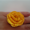 Yellow Cotton Crochet Flower Ring on Adjustable Silver Metal Band