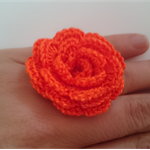 Bright Orange Cotton Crochet Flower Ring on Adjustable Silver Metal Band