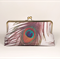 Peacock feather large clutch purse