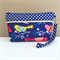 Lucky Dip Clutch:  Bright birds on Navy with polkadot trim