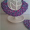 Pink and Blue Hoops Hand Crochet Cotton Earrings