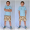 Boys Size 7-8 Shorts Pheasants Birds - in brown yellow beige quilting cotton