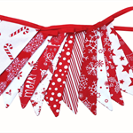 Christmas Bunting - Red / White - Traditional Fabric Flags. Stunning!