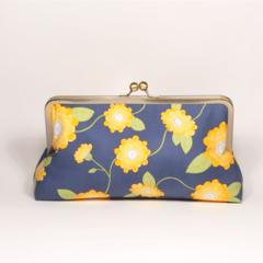 Zinia in yellow large clutch purse