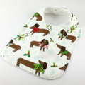 Christmas Baby Bib, Cute Dogs Cotton Fabric, Bamboo Toweling Backed.