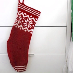 """Snowflake"" Christmas Stocking - Hand knitted in pure wool"
