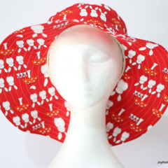 Red and White Rabbits and Mushroom Sunhat Size 55.5cm