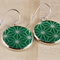 Women's large round resin silver drop dangle earrings green geometric art print
