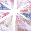 Vintage Bunting - Pink Purple Floral & Lace Flags. Wedding Tea Party