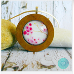 Pink Blossoms Wood Circle Necklace