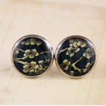 Women's round resin silver stud earrings, vintage cherry blossom floral print