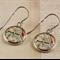 Women's round resin silver drop earrings Melways street directory map print