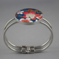 Women's round resin silver cuff bracelet bangle, Japanese washi floral print