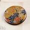 Women's round resin & wood brooch, Japanese washi yuzen paper floral print badge