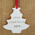 CLAY PERSONALISED CHRISTMAS DECORATIONS STAR HEART FAIRY BABY GIFT  EMBOSSED 1ST