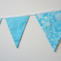 Snowflake Fabric Bunting - Soft Blue and White Party or Bedroom decoration