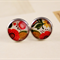 Women's round resin silver stud earrings, bright floral flowers art print studs
