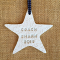 CLAY PERSONALISED CHRISTMAS DECORATIONS STAR HEART FAIRY TEACHER GIFT  EMBOSSED