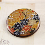Women's round resin & wood brooch, Japanese washi yuzen paper floral print badge