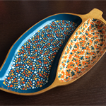 Retro Wooden Handpainted Bowl -  Tropical, Mango, Orange, White Dots