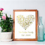 Digital File Personalized Love Heart Foil Look Print