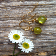 Light Olive Resin & Antique Gold Tibetan Bead Earrings