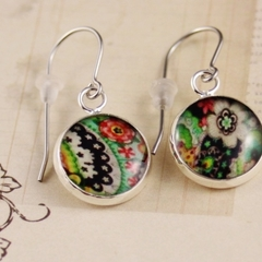 Women's round resin silver drop earrings Alexander Henry black floral art print