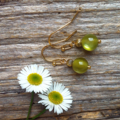 Light Olive Resin & Antique Gold Tibetan Bead Earrings