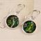 Women's round resin silver drop earrings retro green floral flower art print