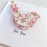 For you birdie vintage pink chocolate floral bird blank birthday her friend card