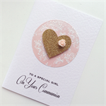 Special girl Holy Communion pink damask gold glitter heart pretty card