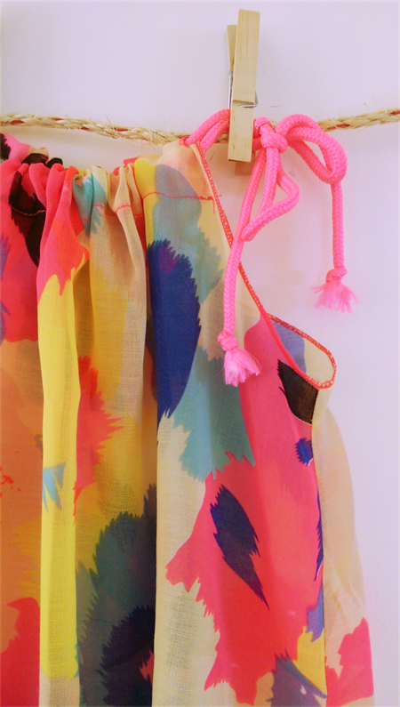 Pillowslip Style Sundress in Neon Abstract