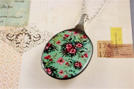 Upcycled/recycled vintage spoon resin pendant necklace, pink green floral print