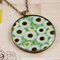 Large round resin women's pendant necklace, daisy daisies floral flower print